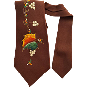 1950s Men's Vintage Necktie Hand Painted Autumn Leaves