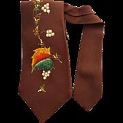 1950s Men's Vintage Necktie Hand Painted Autumn Leaves
