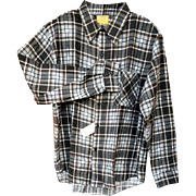 Men's Vintage Hipster Long Sleeve Shirt Soft Brown Plaid Size Extra Large Sears