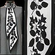 Vera Neumann Scarf Vintage Silhouette Black and White Long Rectangle
