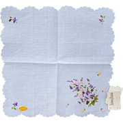 Vintage Cotton Handkerchief Embroidered Violets Neiman Marcus NOWT