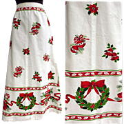 1960s Christmas Skirt Holiday Print Hostess Size Small