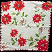 1960s Christmas Handkerchief Poinsettia Print Minty