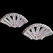 1960s Rhinestone Shoe Clips Flashy Fan Shaped Sparkle
