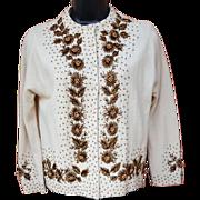 1960s Women's Beaded Sweater Lavish Bronze Glass Beads Size Medium