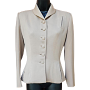 1940s Gabardine Jacket in size Medium Wasp Waist Silhouette