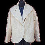 1950s Women's Jacket Lightweight Autumn Ecru Wool Tweed Size Medium Large