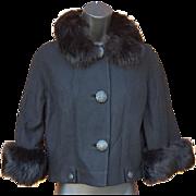 Vintage 1960s Jacket Posh Black Mink Trim on Wool Size Medium