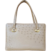 Gorgeous 1960s Ostrich Leather Purse Minty Taupe Wonderful