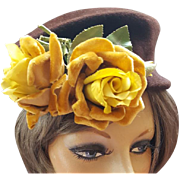 1950s Hat Cocoa Brown Felt Fur Golden Velvet Roses Posh Autumn Chapeau