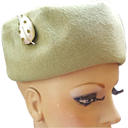 Posh 1960s Pill Box Hat Autumn Green Felt Fur with Rhinestone Flourish