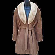 1960s Suede Leather Coat Tourmaline Mink Collar Size Medium Stroller