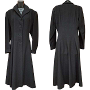 1930s Women's Vintage Coat Black Wool Satin Lining Size Large Lg