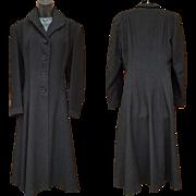 1930s Women's Vintage Coat Black Wool Satin Lining Size Large Lg