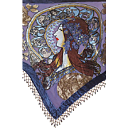 Beaded Shawl with Burned out Velvet from Mucha Art Nouveau Zodiac Design