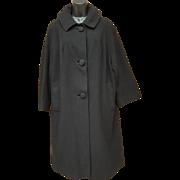 Vintage Cashmere Coat Women's 1960s Posh Black Extra Large