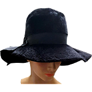 Wide Floppy Brim Black Hat Brushed Felt Fur Fabulous