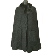Black Mohair and Mink Cape Size Large - Extra Large Vintage 1950s