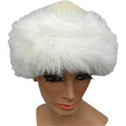 Women's Winter Hat White Faux Fur Trim on Knit One Size Vintage