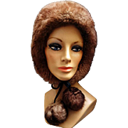 Women's 1970s Sheepskin Fur Hat Warm Blizzard Buster Medium