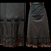 1950s Black Half Slip Illusion Accordion Lace Size Large