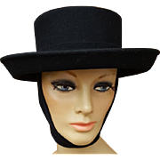 Black Wool Felt Hat Attached Scarf Women's Fedora style Size Medium