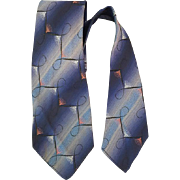 1930s - 1940s Men's Necktie Woven Blue Damask Depression Era