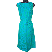 1960s Cocktail Dress Iridescent Blue Green Brocade Size Large / L