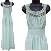 1940s Grecian Style Nightgown Pastel Lacy Bodice Size Large