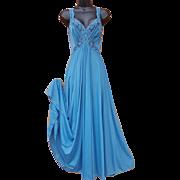 Vintage Olga Nightgown Body Silk Deepest Turquoise Size P