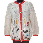 1960s Embroidered Knit Sweater Fuzzy Mohair Floral Size Large