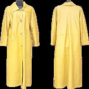 Yellow Leather Rain Coat Water Free Finland Friitala Medium