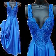 Royal Blue Olga Nightgown Lavish Lace Size Small