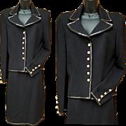 St. John Evening Suit Swarovski Crystal Buttons Medium Size 10 Santana