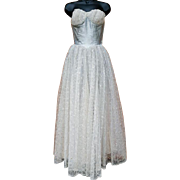 1950s Bouffant Prom Dress Lace Sequins Blue Lurex Size Extra Small