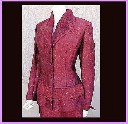 Dramatic Vintage Lilli Ann Suit Size L Custom Fabric Vintage Va Voom! TLC