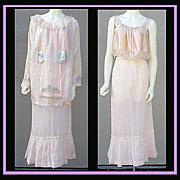 Rare Edwardian Blouse Skirt Camisole XL Pink Silk Antique Art Nouveau