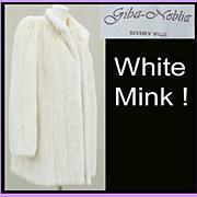 Vintage White Mink Fur Coat Size Large Beverly Hills Giba-Noblia