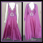 GORGEOUS SET! Extra Large Purple Olga Nightgown & Peignoir Bust 42 - 44