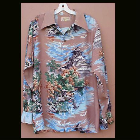 Rare 1940s Hawaiian Shirt Ross Sutherland Long Sleeve Size Large
