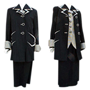 1940s Women's Suit Top Coat, Jacket, Skirt, Size Large Rare Set