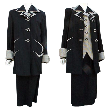 Rare 3 Piece 1940s Women's Suit Top Coat, Jacket, Skirt, Size Large Minty