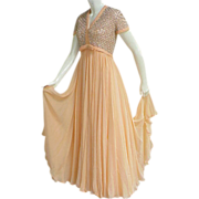1960s Peach Nectarine Silk Chiffon Evening Gown Rhinestones Beads Faux Pearls