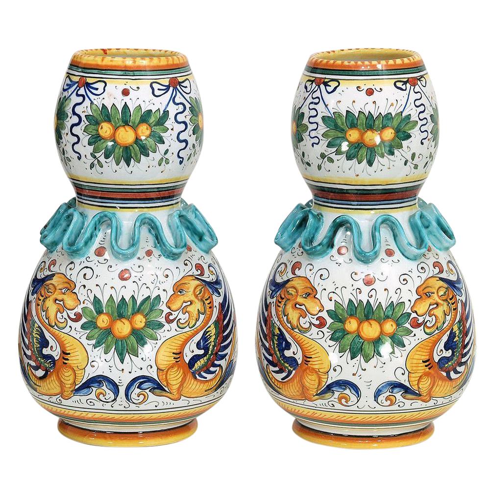 Pair Vintage Volpi Deruta Hand Painted Raffaellesco Majolica Vases