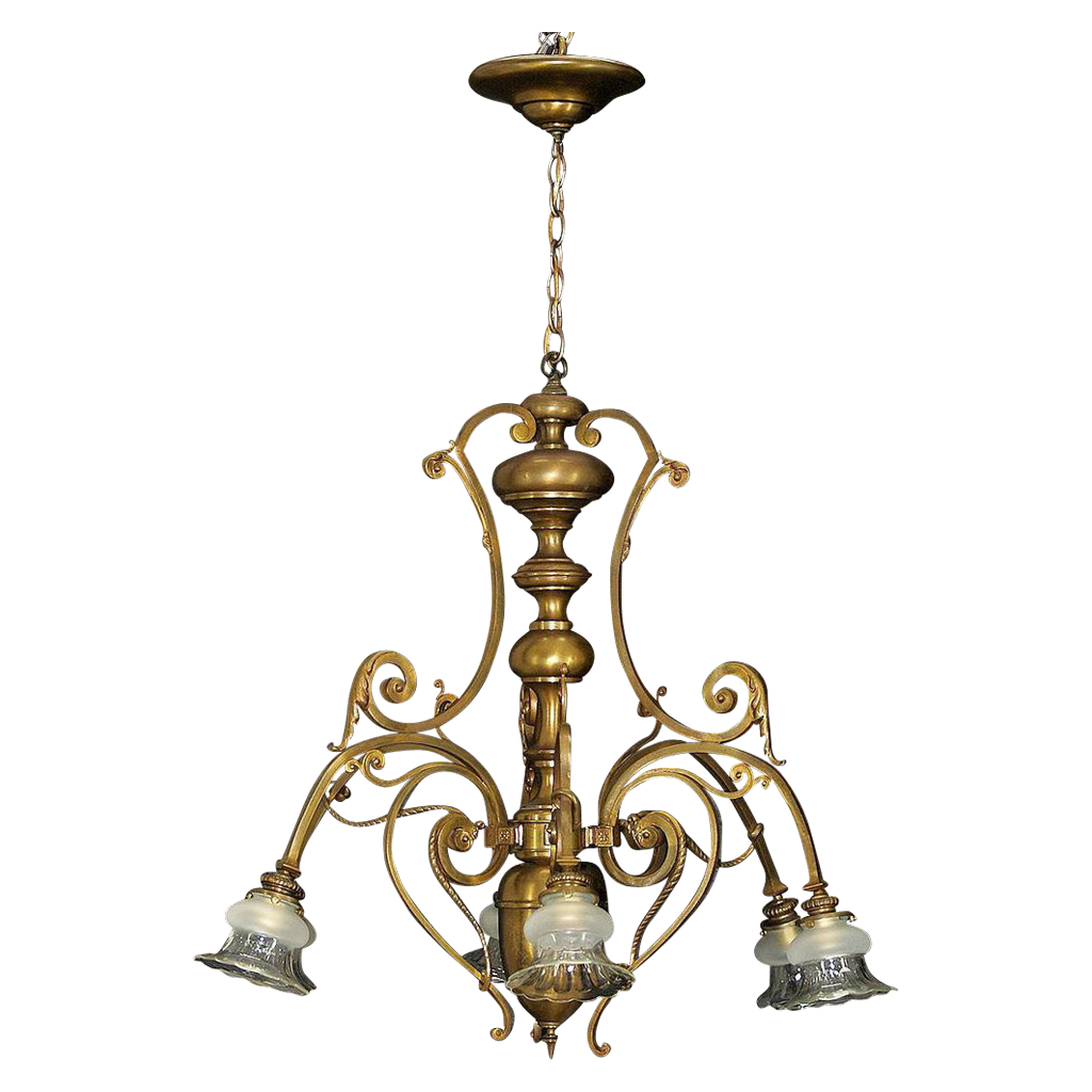 Antique French Large Bronze 6 Light Chandelier - Baccarat Cut Glass Shades