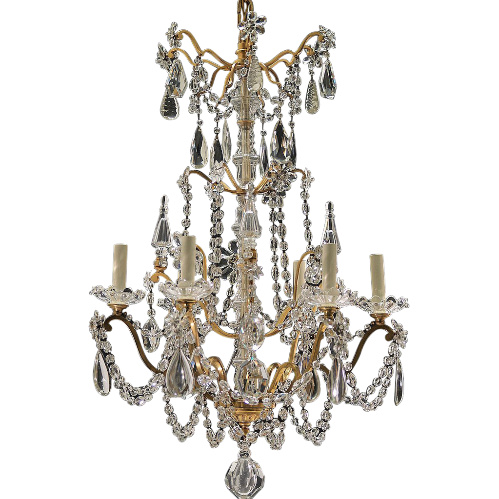 Antique 6-Light French Gilt Brass and Crystal Chandelier