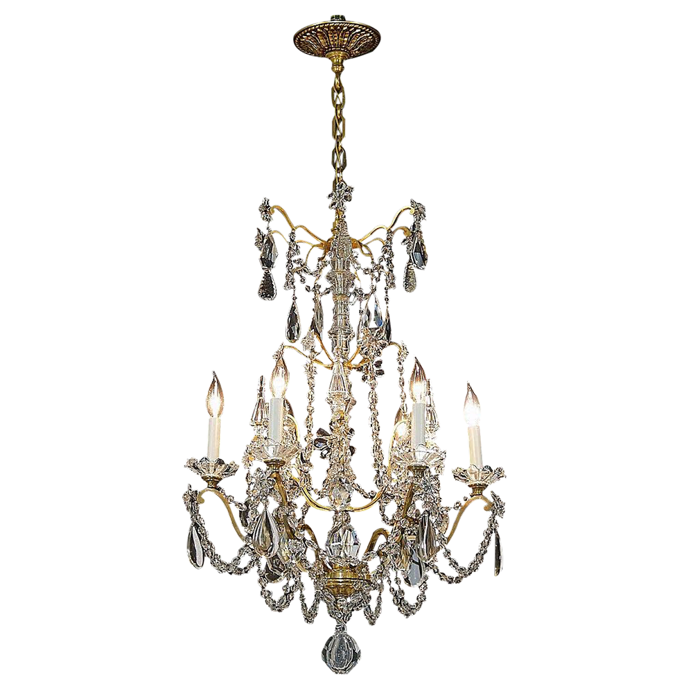 Roll over Large image to magnify, click Large image to zoom - Antique 6-Light French Gilt Brass And Crystal Chandelier From Tolw