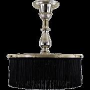 Antique Silverplate Brass Ceiling Fixture - Black Fringe