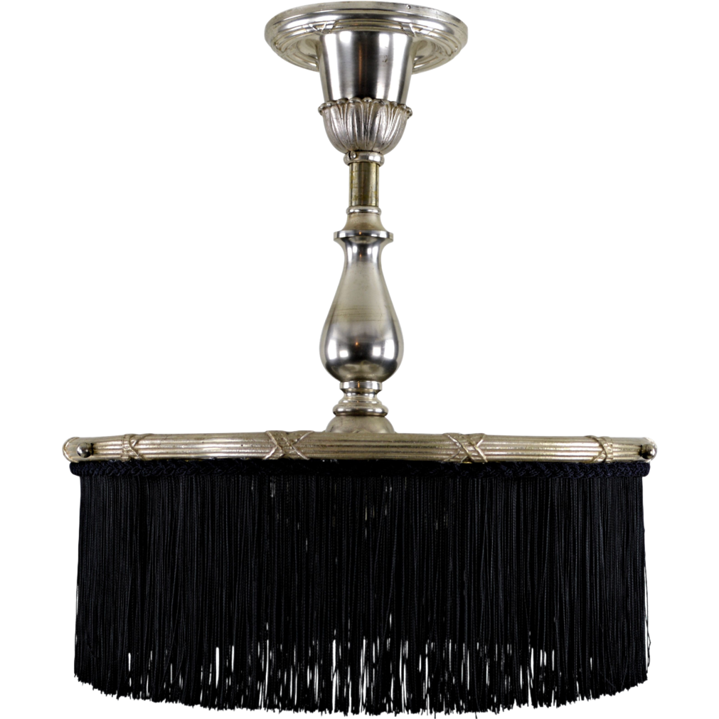 Antique Silverplate Brass Ceiling Fixture - Black Fringe