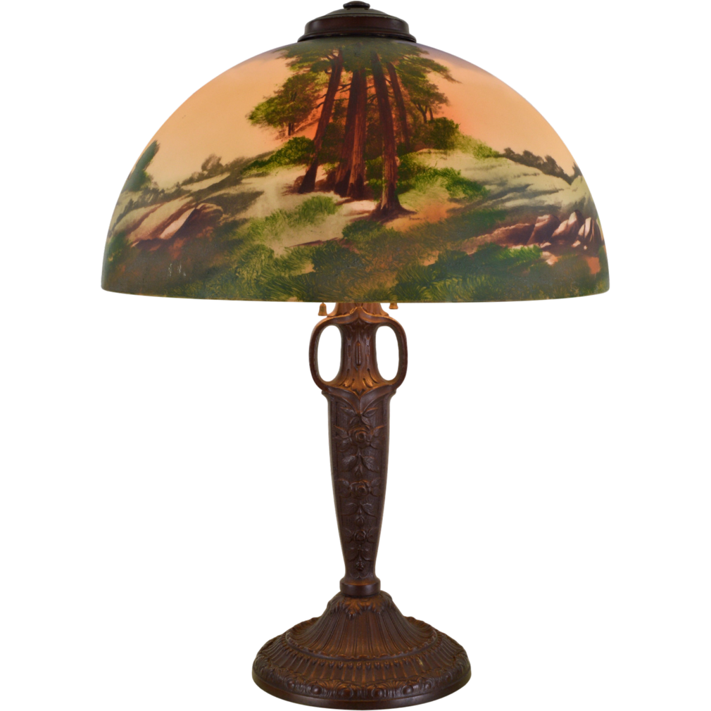 Pittsburgh Obverse Painted Lamp Redwood Trees - 16 inch